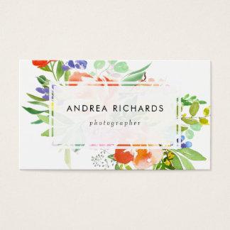Feminine Watercolor Peach Peonies Business Card