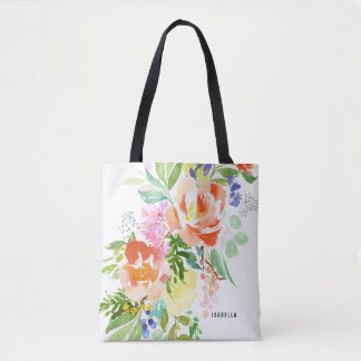 Feminine Watercolor Peach Peonies | Floral Tote Bag