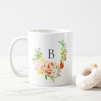 Feminine Watercolor Peach Peonies Wreath Monogram Coffee Mug