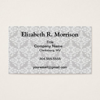 Feminine White on Black Damask Business Card