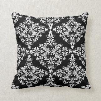 Feminine White on Black Damask Cushion