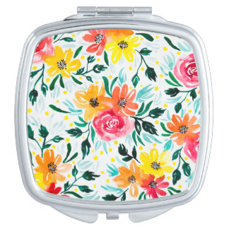 Feminine Yellow Pink Watercolor Flowers Compact Mirrors