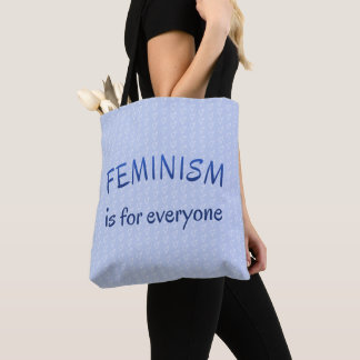 Feminism for everyone blue patterned tote bag