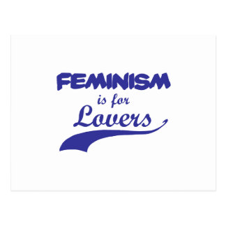 Feminism is for Lovers Blue Postcard