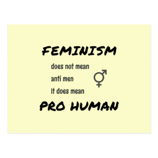 Feminism slogan and symbol cream postcard