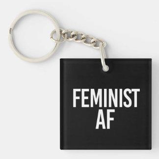 Feminist AF - - white - Key Ring