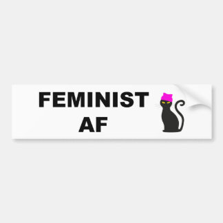 Feminist AF with Pussy Hat Cat Bumper Sticker