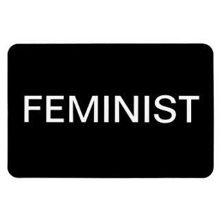Feminist—bold white all caps on black magnet