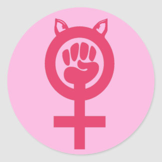 Feminist Fist Pink Pussy Power Women's March Classic Round Sticker
