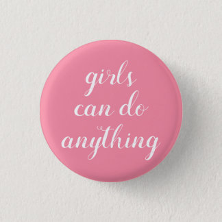 feminist girl power round button