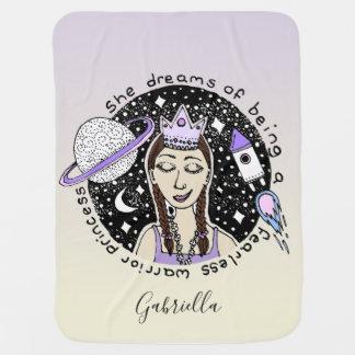 Feminist Girl's Dream Astronaut Princess Art Name Baby Blanket