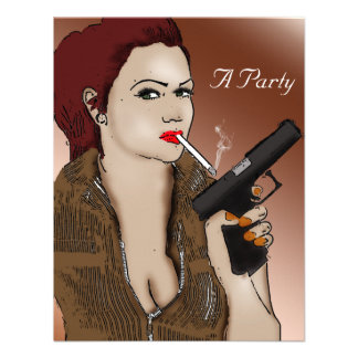 Femme Fatale - Smoking and Guns Personalized Invitations