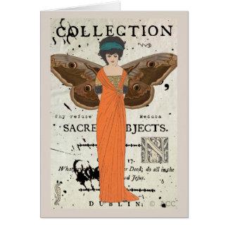 Femme Fatale Winged Woman Orange Dress Card