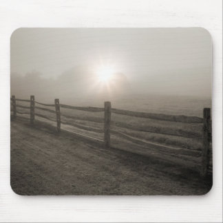 Fence and Sunburst Through Fog near Sharon Mouse Pad