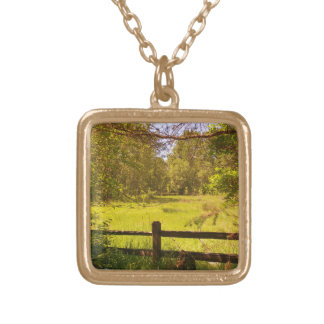 Fence at Oaks Bottom Gold Plated Necklace
