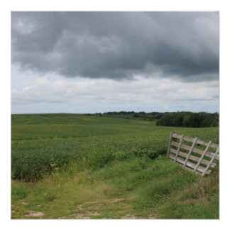fence gate in front of field with mowed horseshoe poster