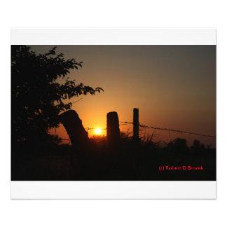 Fence Line Sunset PHOTO ENLARGEMENT