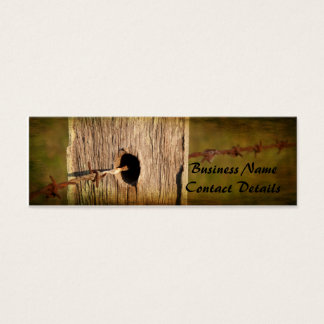 Fence Post and Barbed Wire Mini Business Card