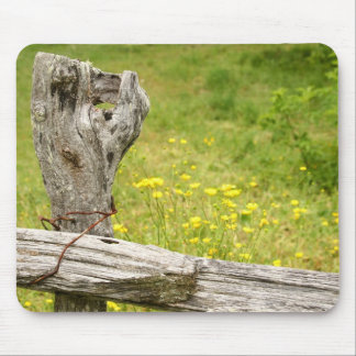 Fence Post and Flowers Mousepad