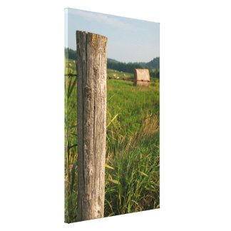 Fence Post and Hay Bales Stretched Canvas Print