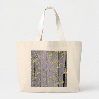 Fence with Forsythia Canvas Bag