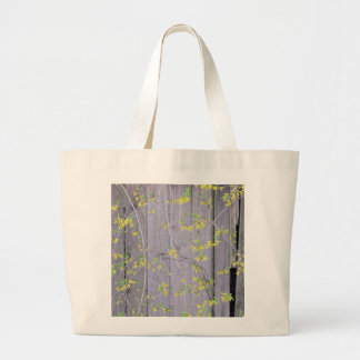 Fence with Forsythia Large Tote Bag