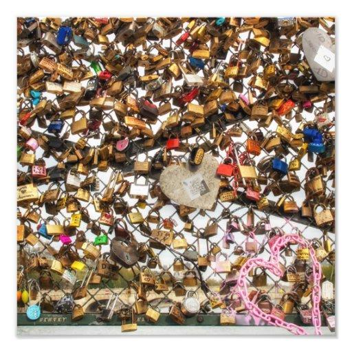 Fence with padlocks of love photography photo print