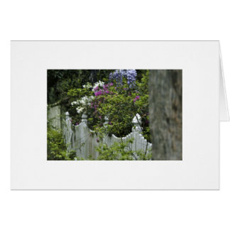 Fence with Spring Flowers Card