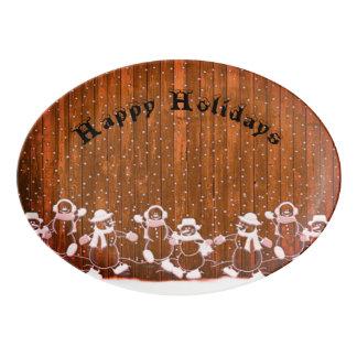Fenced Snowmen Porcelain Serving Platter