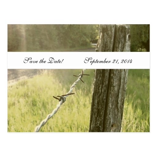 Fencepost Barbed Wire Rustic Save the Date Postcards