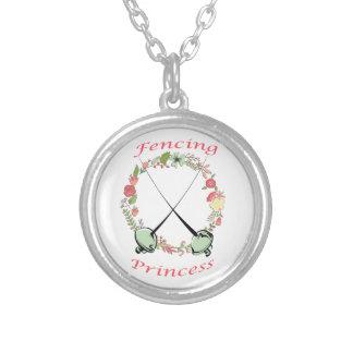 Fencing Princess Floral Foils Round Pendant Necklace