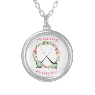 Fencing Princess Floral Foils Silver Plated Necklace