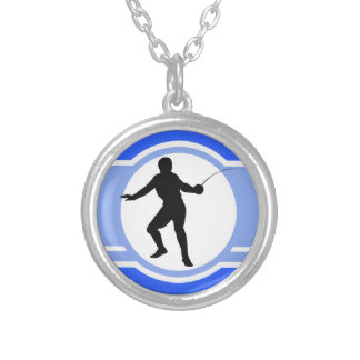 Fencing Silhouette; blue Silver Plated Necklace