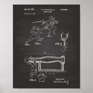 Fencing Swords 1970 Patent Art Chalkboard Poster