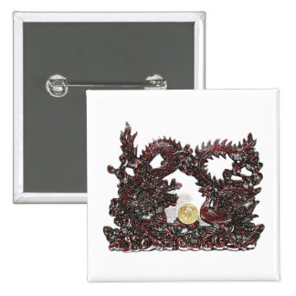 Feng Shui Dragon & Phoenix 15 Cm Square Badge