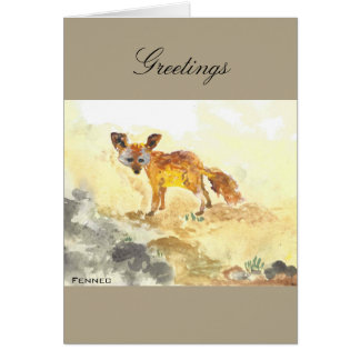 Fennec Watercolor Greeting Card
