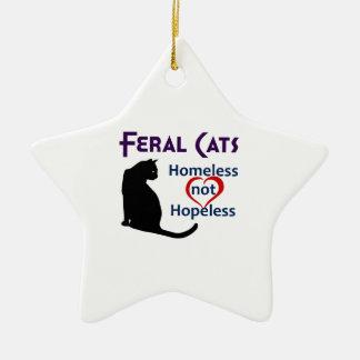 FERAL CATS CERAMIC STAR DECORATION