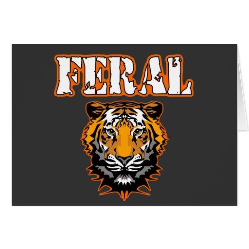 Feral Gear Designs - Feral Tiger Head Orange Greeting Cards