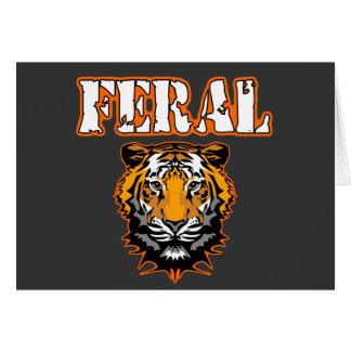 Feral Gear Designs - Feral Tiger Head Orange Greeting Card