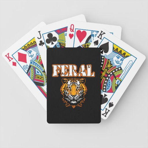 Feral Gear Designs - Feral Tiger Head Orange Poker Cards
