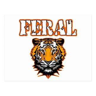 Feral Gear Designs - Feral Tiger Head Orange Postcard