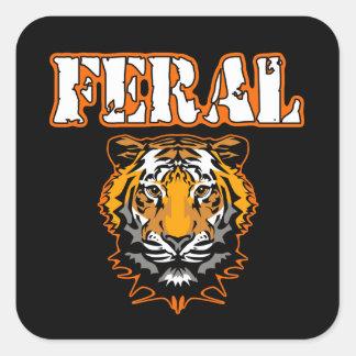 Feral Gear Designs - Feral Tiger Head Orange Square Sticker