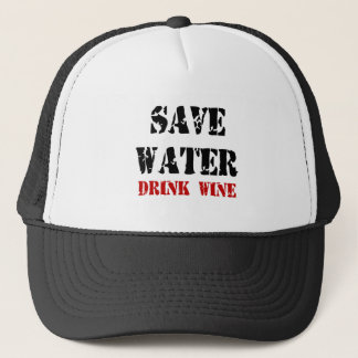 Feral Gear Designs - Save Water Drink Wine Trucker Hat