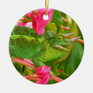 Feral Jackson's Chameleon on Maui Island Hawaii Ceramic Ornament