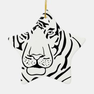 Feral Tiger Drawing Ceramic Ornament