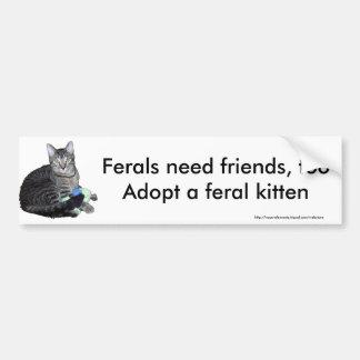 """Ferals need friends"" kitten bumper sticker"