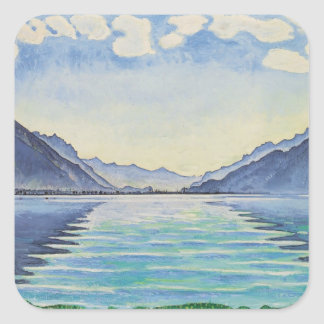 Ferdinand Hodler- Lake Thun, Symmetric reflection Square Stickers