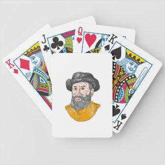 Ferdinand Magellan Bust Drawing Bicycle Playing Cards