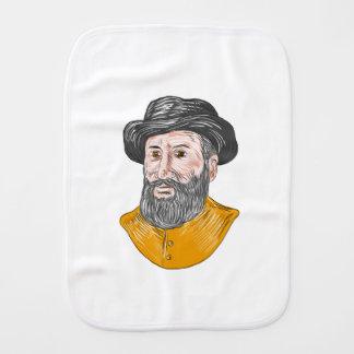 Ferdinand Magellan Bust Drawing Burp Cloth