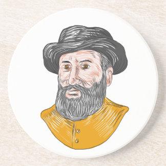 Ferdinand Magellan Bust Drawing Coaster